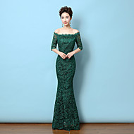 Formal Evening Dress - Dark Green Trumpet/Mermaid Off-the-shoulder Floor-length Lace