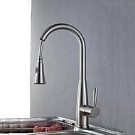 Modern Pull-out / pull-down Inbouw Met uitneembare spray with  Keramische ventiel Single Handle Een Hole for  Geborsteld , Keuken Kraan