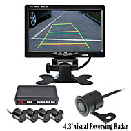 renepai® 7 inch 4 sonde parkeersensoren LCD-display van de camera video-auto achteruit back-up radar kit zoemer 12v