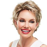 attraktive zottigen wellige kurze capless menschliches Haar Monospitzenperücken für Frau