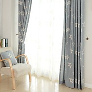 (Two Panel)Modern Star Embroidered  Linen Curtain(Sheer Not Included)