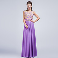 Formal Evening Dress Sheath / Column V-neck Floor-length Charmeuse with Appliques / Beading / Crystal Detailing / Sash / Ribbon