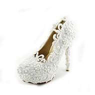 Women's Shoes Leatherette Stiletto Heel Heels Pearl Pumps/Heels Wedding/Party & Evening/Dress White