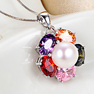 2015 New Fashion Women's Silver / Cubic Zirconia / Pearl Necklace Christmas Gift