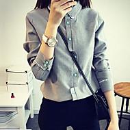 Mulheres Camisa Formal Simples Outono,Sólido Branco / Cinza Náilon Colarinho de Camisa Manga Longa Média