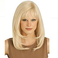 vaalea pitkä korkealaatuisia luonnonmateriaaleja suorat hiukset synteettinen peruukki on ilmainen Bang