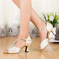 Customizable Women's Dance Shoes Satin Satin Latin Heels Stiletto Heel Indoor Ivory