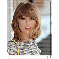 Youthful Taylor Swift Hairstyle Capless Human Virgin Remy Hand Tied-Top Medium Wavy Hair Wigs