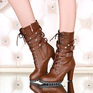 Women's Fall / Winter Heels / Round Toe Leatherette Outdoor / Office & Career / Casual Chunky Heel Buckle / Lace-up Black / Brown