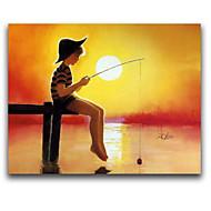 iarts®kid andare a pesca sul tramonto stile cartone animato pittura a olio handmade