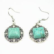 Vintage Look Antique Silver Plated Square Turquoise Stone Crystal Cz Drop Earring(1Pair)