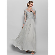Lanting A-line Mother of the Bride Dress - Silver Floor-length Long Sleeve Chiffon / Lace
