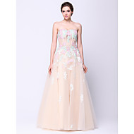 Formal Evening Dress A-line Strapless Floor-length Tulle