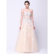 포멀 이브닝 드레스 A-라인 끈없는 스타일 바닥 길이 튤 와 플라워