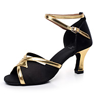 Customizable Women's Dance Shoes Latin / Salsa / Samba/Ballroom Sandals Satin Customized Heel Black