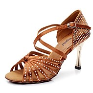 Μη δυνατότητα προσαρμογής - Λατινικοί - Παπούτσια Χορού - με Τακούνι Στιλέτο - από Σατέν / Δερμάτινα - για Γυναικεία