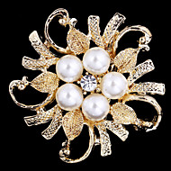 Alloy Pearl Scarf Clip Brooch for Women Party