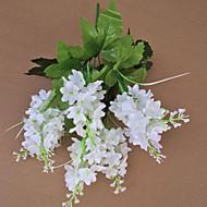 "7 Forks 14"" White Purple Light Purple  Artificial Hyacinth Flower Set of 5"