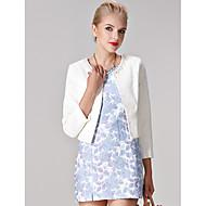 Sheath/Column Mother of the Bride Dress - White / Multi-color / Print Short/Mini 3/4 Length Sleeve Polyester