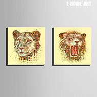 Animal Impressão em tela Dois Painéis Pronto para pendurar , Quadrada