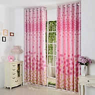 Two Panels Pink Floral Botanical Polyester Panel Window Curtains Drapes
