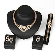 Women's Alloy Golden Crystal Neclace & Earrings&Bracelet Jewelry Set for Wedding Party