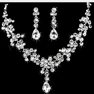 Jewelry Set Cubic Zirconia Silver Plated Simulated Diamond Teardrop White Wedding Party Anniversary Engagement 1set Necklaces Earrings