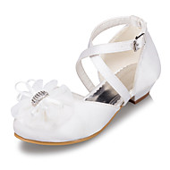 Heels Spring Summer Fall Winter Light Up Shoes Satin Outdoor Casual Low Heel Flower White