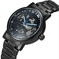 WINNER Heren Skeleton horloge mechanische horloges Automatisch opwindmechanisme Hol Gegraveerd Roestvrij staal Band Luxueus Zwart Zilver