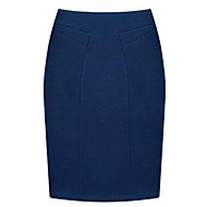 Women's Solid Blue / Red / Black / Gray Skirts , Bodycon / Plus Sizes Knee-length