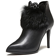 Women's Shoes Leather Stiletto Heel Heels / Fashion Boots Heels / Boots Party & Evening / Dress / Casual Black / Red