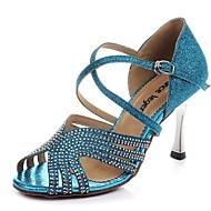 Sapatos de Dança ( Azul / Dourado ) - Mulheres - Não Personalizável - Latim