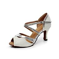 Scarpe da ballo - Non personalizzabile - Donna - Latinoamericano - Tacco a rocchetto - Pelle / Glitter - Bianco