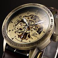 Men's Vintage Skeleton Bronzen Leather Band Automatic Self Wind Wrist Watch Cool Watch Unique Watch