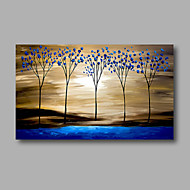 Ready to Hand Stretched Hand-Painted Canvas Modern Oil Painting Forest Trees Blue Sunshine one Panel