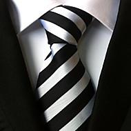 Men Wedding Cocktail Necktie At Work Black White Colors Tie