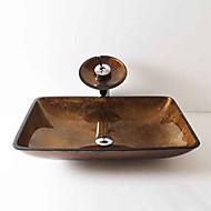 Zeitgenössisch T12*L560*W360*H110MM Rechteckig Sink Material ist HartglasWaschbecken für Badezimmer / Armatur für Badezimmer / Einbauring