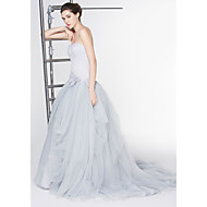 Lan Ting - A-line Wedding Dress - Ivory Ankle-length Scoop Lace / Tulle
