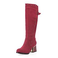 Bootsit-Leveä korko-Naisten-Fleece-Musta Ruskea Vihreä Punainen-Toimisto Puku Rento-Comfort