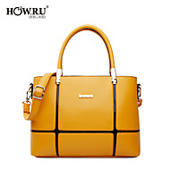 HOWRU ® Women 's PU Tote Bag/Single Shoulder Bag/Crossbody Bags-Black/Yellow