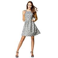 칵테일 파티 드레스 A-라인 스쿱 무릎 길이 폴리에스테르 와 패턴 / 프린트