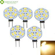 5W G4 Spot LED MR11 9 SMD 5730 360-450 lm Blanc Chaud Gradable DC 12 / AC 12 V 5 pièces