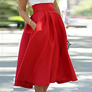 Women's Hot Red Fashion High Waist Skirts , Casual