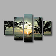 Ready to Hang Stretched Hand-Painted Oil Painting Canvas Wall Art Seascape Sunrise Coco Trees Waves Five Panels
