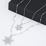 Fashion Sweet Temperament Shiny Rhinestone Snow Double Long Necklace