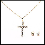 Delicate Gold Chain Crystal Necklace Cross Pendant with Stud Earrings Women's Fashion Jewelry set