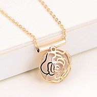 Women's Elegant sweet rose hollow opal alloy Pendant Necklace