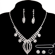 Bridal Wedding Jewelry Sets Crystal Ring Bracelet Necklace Earrings Sets with 2 Pairs of Rhinestone Earrings