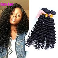 Az emberi haj sző Perui haj Mély hullám 6 hónap 3 darab haj sző