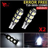 2x Canbus Wedge T10 White 192 168 194 W5W 13 5050 SMD LED Light Lamp Bulb Error Free 12V